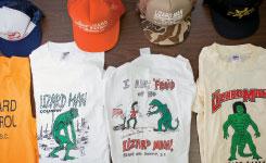 Lizard Man t-shirts and hats