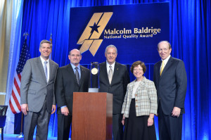 Pictured at the National Baldrige Quality Award ceremony are Patrick Gallagher (U.S. Under Secretary of Commerce for Standards and Technology and Director, National Institute of Standards and Technology), Randy O'Neal (Vice President of Production Operations, Lockheed Martin Missiles and Fire Control), James F. Berry (former President, Lockheed Martin Missiles and Fire Control), Rebecca Blank (U.S. Deputy Secretary of Commerce), and George Benson (President, College of Charleston)
