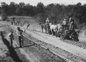 Convict Gang working on a road in Monticello, Georgia, early 1900s. Photo Courtesy of Gary Doster. From DIXIE HIGHWAY: ROAD BUILDING AND THE MAKING OF THE MODERN SOUTH, 1900-1930 by Tammy Ingram. Copyright © 2014 by the University of North Carolina Press. Used by permission of the publisher. www.uncpress.unc.edu