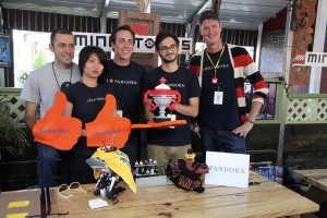 Jeffrey, second-from-right, with his Pandora Device Engineer team at the Lego Mindstorms Robo Launch Party.