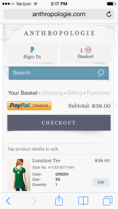 anthropologie.com mobile checkout - digital marketing analyist for anthropologie