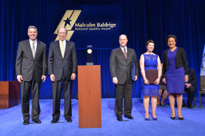 The Malcolm Baldridge National Quality Award Ceremony Presented April 6, 2014 in Baltimore Pictured left to right with the Baldrige Award Crystal: Patrick Gallagher (Under Secretary of Commerce for Standards and Technology and NIST Director), George Benson (Foundation for the Malcolm Baldrige National Quality Award Chair), James Conforti (Sutter Health Sacremento Sierra Region President), Janet Wagner (Sutter Davis Hospital CEO), Penny Pritzker (U.S. Commerce Department Secretary).