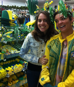 College of Charleston student Kyle Victory (right) visiting a shop in Brazil with Brazilian friend Talita Neves da Silva.
