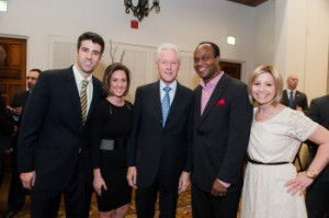 (L) Michael Huberman backstage with (L-R) Joslyn Dalton – Manager of the DMA Program,  President Bill Clinton, Rob King – ESPN SVP of SportsCenter and News, and Carrie Kreiswirth – Assoc. Director of Communications.