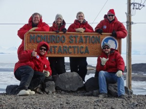 The 2013 College of Charleston Antarctic Team (clockwise from lower right): former graduate student B. Jacob Kendrick; Swiss international graduate student intern Gianluca Paglia; Dr. Peter Lee; former undergraduate student Rachel Stevens; former graduate student and technician Amanda McLenon; and Dr. Jack DiTullio.