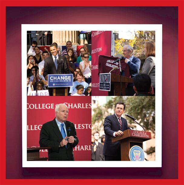 President Obama, Ron Paul, Stephen Colbert, John McCain, College of Charleston
