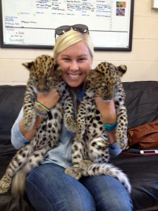 Saylor at the Columbus Zoo and Aquairum with two baby Amur Leopards