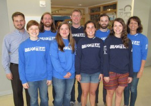 College BEAMS researchers include, from left to right, alumni adviser Josh Mode '09, senior Hannah Yates  senior Garth Groshans, junior Rachel Wireman  Friedrich Knuth '14, junior Mary Eaton, junior Shelby Bowden, senior Monica Steele, associate professor of geology and BEAMS program director Leslie Sautter.