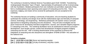 College Hosting Computing in the Arts Workshop for Educators