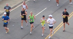 students running marathon