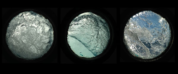 A few of Vanessa Albury's photographs of the sea through her cabin's porthole.
