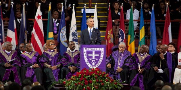 President Barack Obama delivers the eulogy for Sen. Clementa Pinckney in TD Arena.