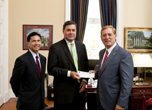 (Left to Right) Alan Shao, Len Hutchison, and College of Charleston President Glenn McConnell