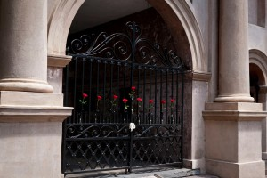 Roses on the gates of Porters Lodge honor the victims of the Emanuel AME Church tragedy.