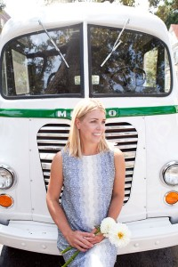 Anne Bowen Dabney '05 perched on her 1965 International Harvester Metro Van.