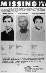 FBI missing poster for Michael Schwerner, James Chaney and Andrew Goodman.