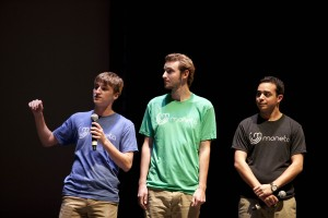 Team Moneta makes its final pitch; from left: Christian Ruppe, Hank Stocker, and Jared Kopelman.