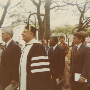 Mayor Joe Riley (far right) enters Cistern Yard behind former CofC President Ted Stern. Photo: CofC Special Collections.