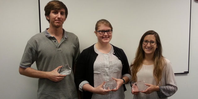 From left to right: Freshmen computer science students Jake Schwarztrauber, Katie Hane Balcewicz, and Danielle Joy Schwartz.