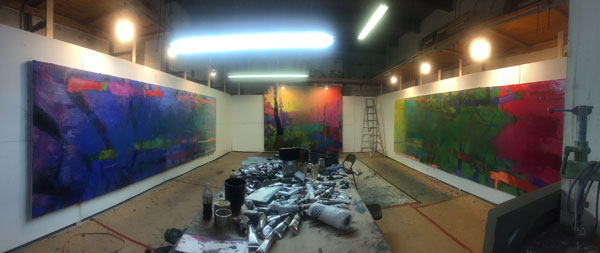The studio of Brian Rutenberg '87, in Long Island City in Queens, N.Y.