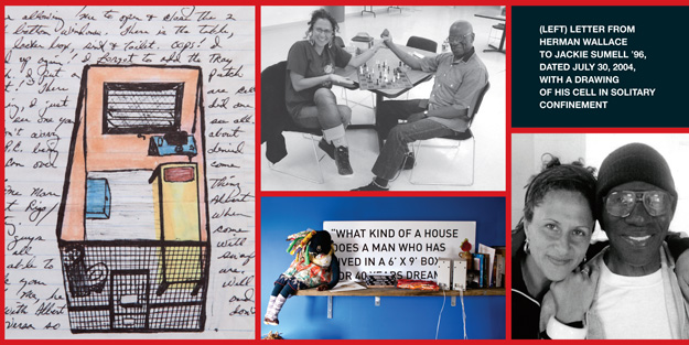 """Sumell with Angola Three inmate Herman Wallace, as well as items from her exhibit """"The House That Herman Built."""""""
