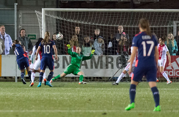 Eli Sarasola '14 minds the net for AFC Ajax .