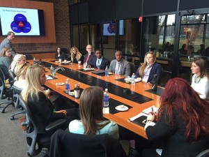 Bruce Haynes, president and founding partner of Purple Strategies (a strategic communications firm) talks with students from the College.