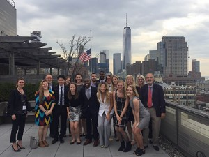 CofC students pose with professors at Edelman, a large communications firm in New York City.