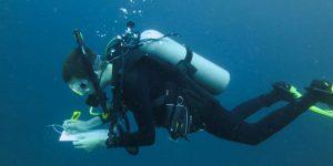 James Peyla scuba dives off Bonaire.
