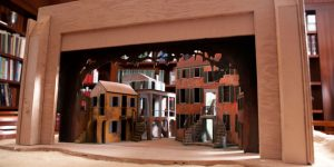 A model of the set of Porgy and Bess on display within Addlestone Library.