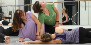 "Emily Morris, Cathy Cabaniss and Julie DeLizza rehearse ""Out of the Rose"" in the Cato Center on Tuesday, May 17, 2016."