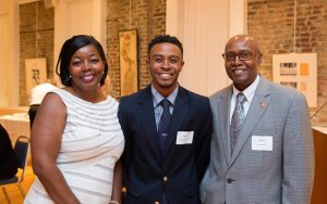 Josephine and Andrew Lewis with Jimmy Worthy (center), the first recipient of the newly endowed scholarship established in their name