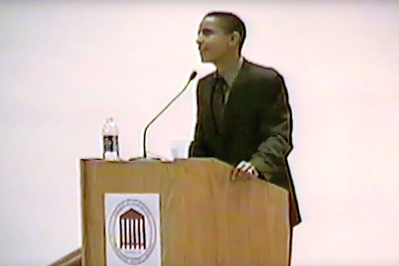 Then a state senator for Illinois, Barack Obama speaks to students and faculty during a lecture series at the College of Charleston in 2002.