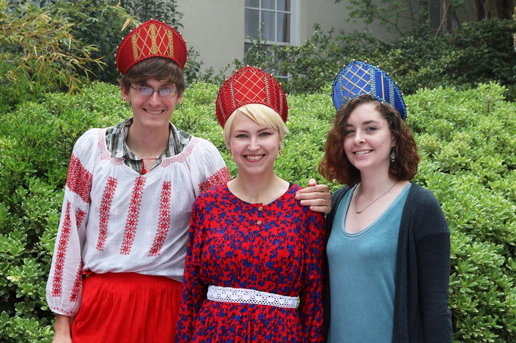 Students in the Russian Club wear traditional hats.
