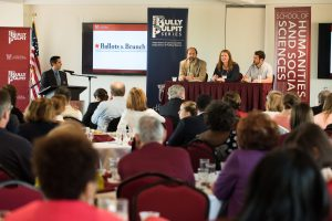 kenny, center right, appears with other panelists at the College's Ballots and Brunch election review on Nov. 19, 2016. (Photo by Reese Moore)