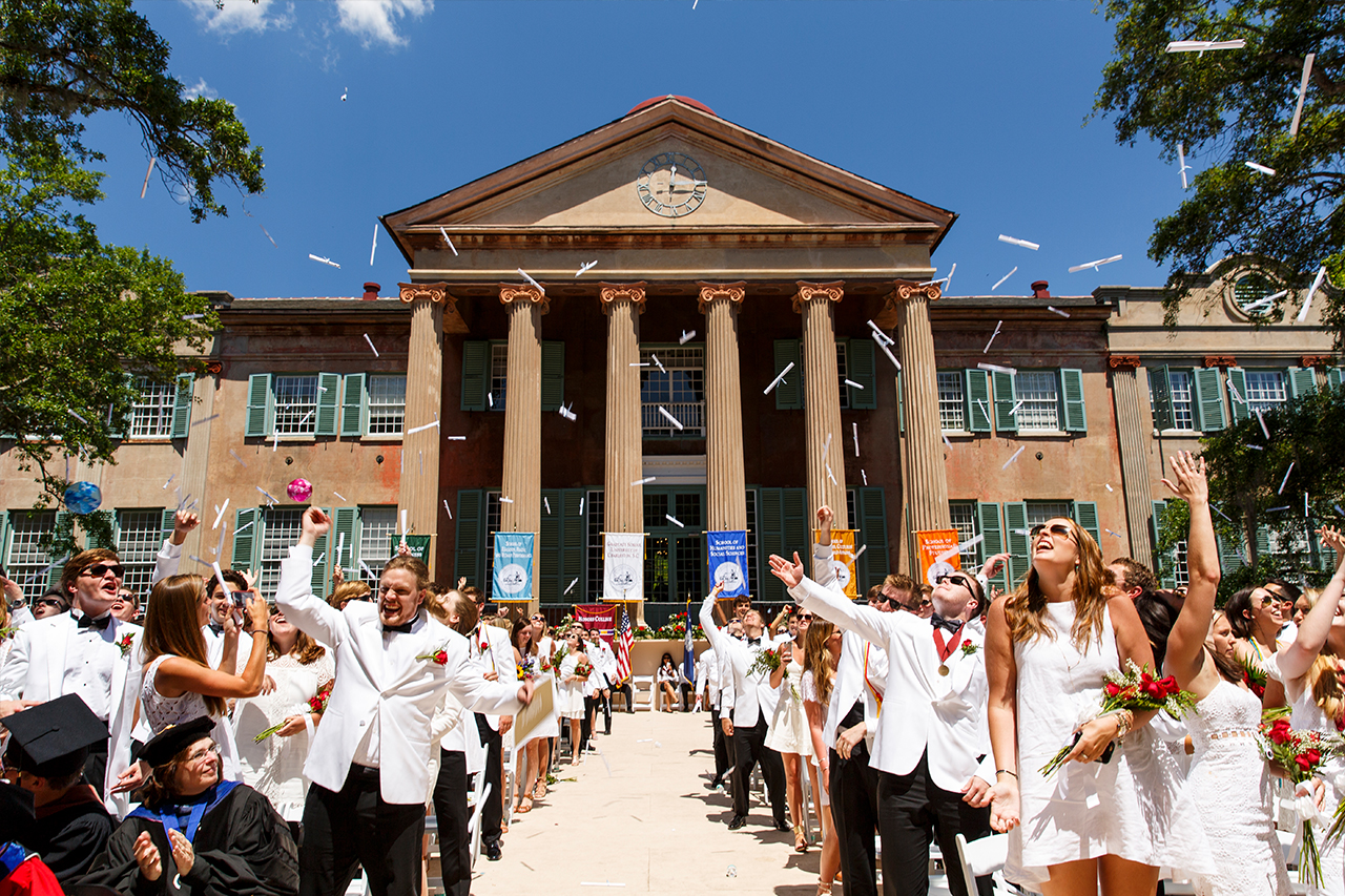 New CofC grads at commencement in 2016.