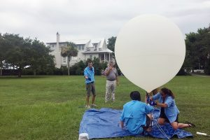 CofC's Space Grant ballooning team practices for eclipse day during a test launch in June. (Photo by Amanda Kerr.)