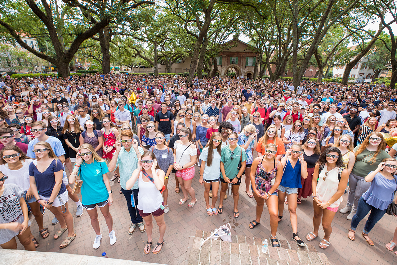 The Class of 2021 stands in the Cistern Yard.