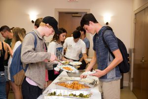 Students line up for a tasty dinner at a recent JSU Meet-to-Eat.