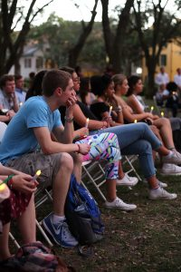 Students gathered Thursday for the annual No Violence Day Candlelight Vigil. (Photo by Kailyn Foard)