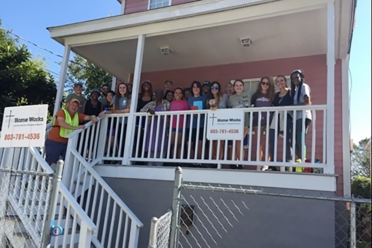 The Center for Civic Engagement partnered with the nonprofit Home Works on a service project to repair and improve the home of an elderly Charleston woman.