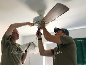 Students made a number of repairs, including new ceiling fans, to a local Charleston woman's home.