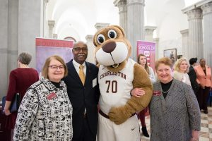 From left: Valerie Morris, dean of the School of the arts, Professor Andrew Lewis, CofC mascot Clyde the Cougar, and Frances Welch, dean of the School of Health and Human Performance.