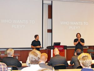 A.J. Abel and Tyler Namowitz's app for organizing pickup sports games, called PLEY, won first place.