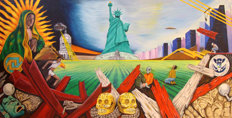 Guadalupana Torch, painting by Cornelio Campos, Durham, North Carolina, appears in the Las Voces del Lowcountry digital exhibit.