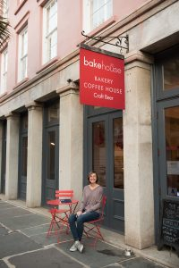 McKayla Robbin outside Bakehouse where she first met Elizabeth Massucci.