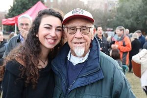 Samantha Krantz, left, met Holocaust survivor Joe Engel, right, during a CofC class in 2015.