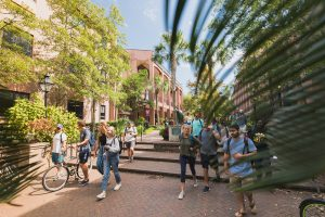 Students walk on the College of Charleston campus at Cougar Mall.