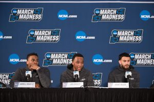 Jarrell Brantley, Joe Chealey and Grant Riller at a pre-game press conference.