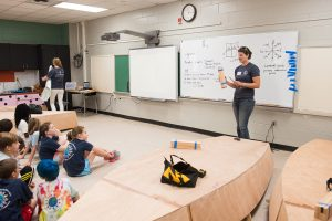 Zoe Coombs Niehaus '12 prepares students for boatbuilding activities.